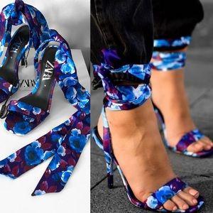 New ZARA floral print heels